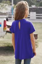 Bluză cu mâneci scurte pentru fete cu cheie albastră