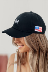 Black American Flag USA Independence Day National Day Letter Embroidered Cap