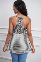 Μπλούζα Halter Coral Trim Leopard & Stripe Print Tank Top