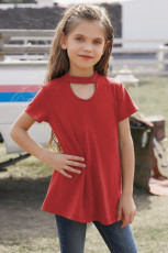 Red Keyhole Girl's Short Sleeves Top