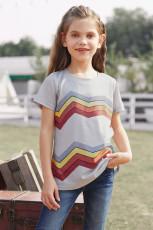 Tricou gri pentru fete cu dungi colorblock