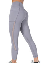 Gray Mesh Side Splicing High Waist Yoga Sports Leggings with Phone Pocket