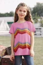 Pink Colorblock Striped Girls' T-shirt