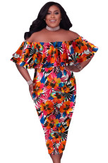 Оранжевое платье миди больших размеров с открытыми плечами и цветочным рисунком