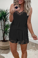 Black Lace Trim Tank Top and Shorts Pajamas Set