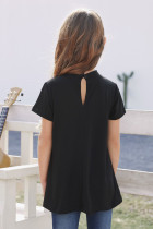 Black Keyhole Girl's Short Sleeves Top