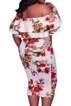 Vestido branco sem ombro floral plus size midi