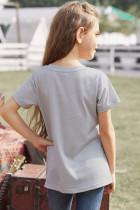 グレーカラーブロックストライプガールズTシャツ