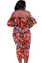 Vestido laranja sem ombro floral plus size midi
