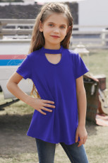 Blue Keyhole Girl's Short Sleeves Top