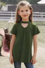 Green Keyhole Girl's Short Sleeves Top