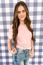 Camiseta cor-de-rosa sólida com gola redonda