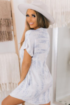 Light Blue Tie Dye Short Sleeve Button Shirt Mini Dress