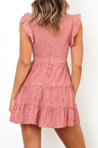 Pink Printed Sleeveless Tiered Mini Dress