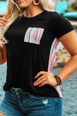 Black Colorful Serape Striped Splicing T-shirt