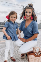 Family Matching Outfit V Neck Ruffled Sleeves Denim Top