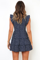Navy Printed Sleeveless Tiered Mini Dress