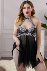 Black Plus Size Halter Neck Lace Mesh Backless Babydoll with Thong