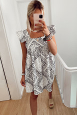 Square Neck Flutter Sleeve Bohemian Print Mini Dress