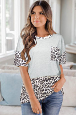 Animal Print Colorblock Short Sleeve Top