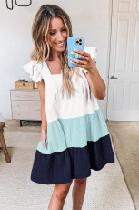 Blue Square Neck Triple Color Block Tiered Babydoll Dress