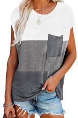 Gray Colorblock Pocketed Cap Sleeve Top