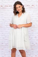 Biała sukienka mini z pomponowym dekoltem w szpic i krótkimi rękawami