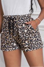 Luipaardprint Trekkoord Casual elastische taille broek met zakken