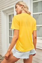 Leopar Harf Baskı Grafik Sarı T-shirt