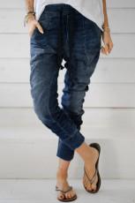 Donkerblauwe joggingbroek met trekkoord en elastische taille