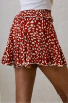 レッドプリントフリル裾Aラインミニスカート
