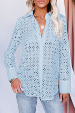 Sky Blue Long Sleeve Eyelet Floral Pattern Hollow-out Shirt