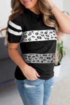 Μαύρο Leopard Round Neck Colorblock Tee