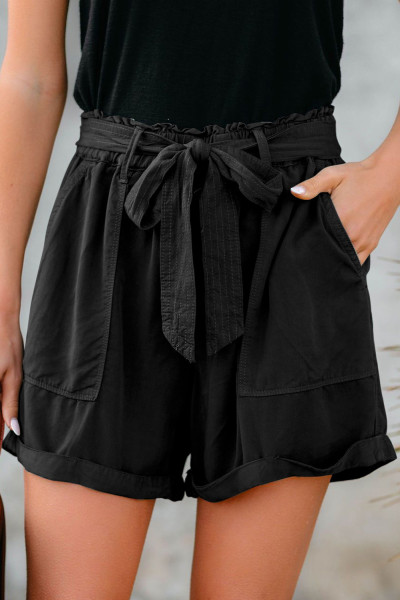 Black Sewn Cuffed Hemline Pocketed Cargo Shorts with Belt