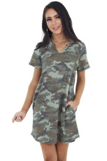 Army Green Camo Print Κοντό μανίκι V Neck Neck Knit Mini Dress