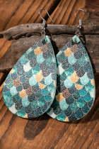 Pendientes colgantes con patrón de escamas de pez de gota de agua