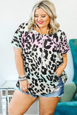 Leopard V-Neck Plus Size Top