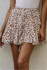 アプリコットプリントフリル裾Aラインミニスカート