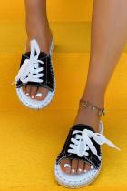 รองเท้าแตะผ้าใบเปิดนิ้วเท้าลูกไม้สีดำ