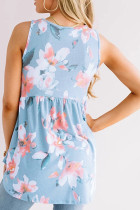 Blue Flowy Blooms Babydoll Tank Top