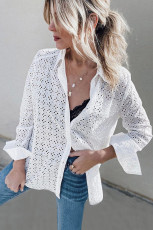 White Long Sleeve Eyelet Floral Pattern Hollow-out Shirt
