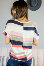Striped Cotton Blend Short-sleeved Top
