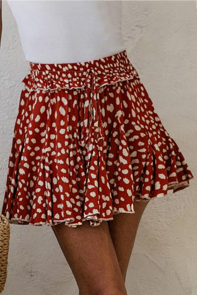 Κόκκινη τυπωμένη μίνι φούστα A-Line Hem