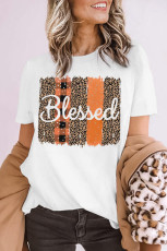 Blessed Leopard Plaid T-shirt