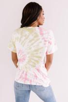 Różowa koszulka WORLD TOUR z nadrukiem tie-dye