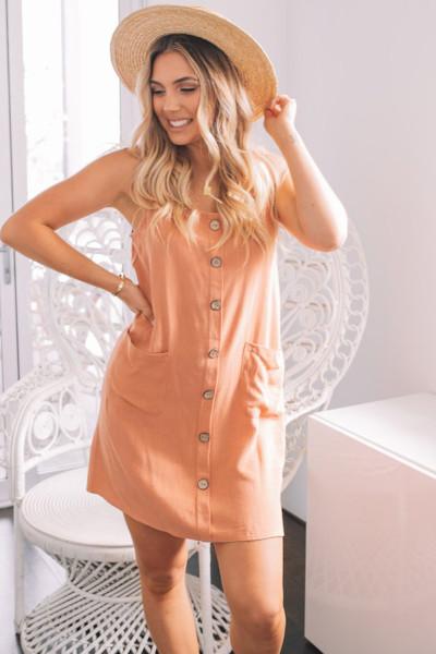 Μίνι μπροστινό αμάνικο φόρεμα με τσέπες