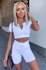 White Zipped Ribbed Knit Crop Top and Shorts Sports Wear