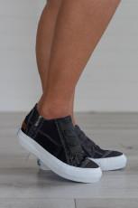 Black Lace-up Platform Sneaker