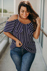 Plus Size Cold Shoulder Striped Top