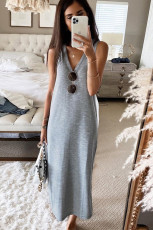 Grey V-Neck Bêxem Bêhil Fit Maxi Dress